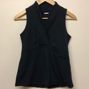 Lululemon cross collar wet dry warm black tank top